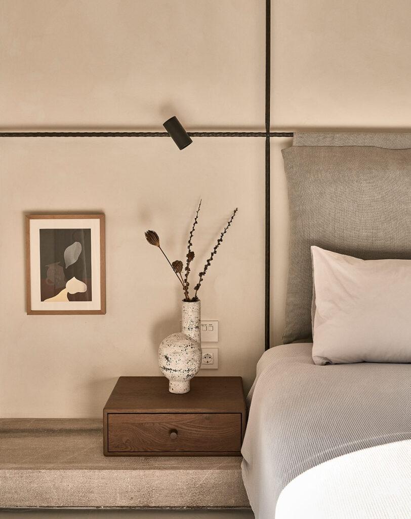 A bedroom at Villa Mandra: A Summer Home In Mykonos, Greece.