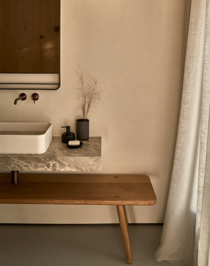 A simple, natural bathroom at Villa Mandra: A Summer Home In Mykonos, Greece.